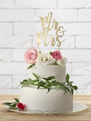 Топпер для торта Mr&Mrs, золотой, 25.5 см