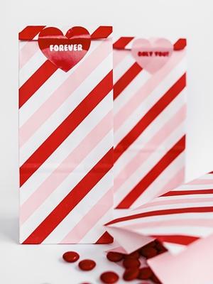 6 шт, Бумажные мешочки Сладкая любовь, 8 x 18 x 6 см