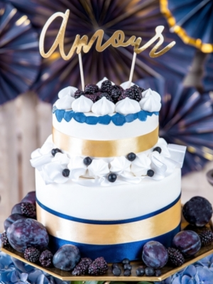 Tortes iesmiņš Amour, zelta, 22.5 cm