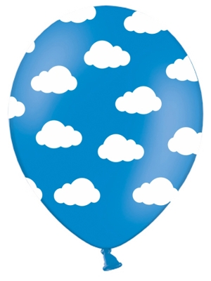 Balons Mākoņi, zils ar baltu, 30 cm