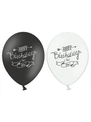 Balons Daudz laimes dzimšanas dienā, melns vai balts,  30 cm