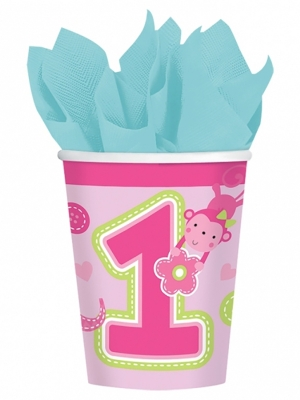 8 gab,  Glāzes ar ciparu 1, rozā, 266 ml