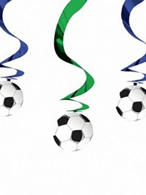5 gab, Piekarams dekors Futbols, zaļš ar zilu, 61 cm