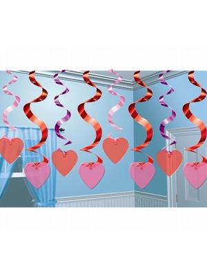 Piekarams dekors Sirdis, sarkans ar rozā,  61 cm