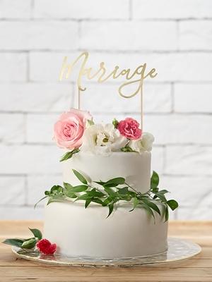 Tortes iesmiņš Mariage, zelta, 22.5 cm