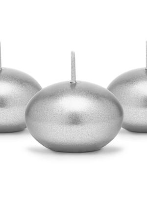 Peldoša svece, metāliski sudraba, 4 cm