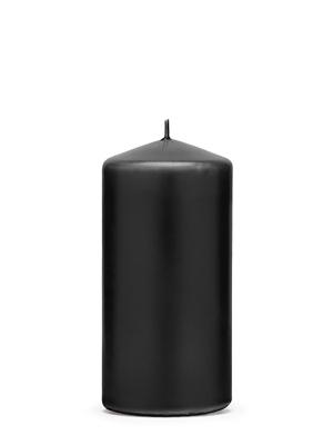 Цилиндрическая свеча, матовая, черная, 12 см х 6 см