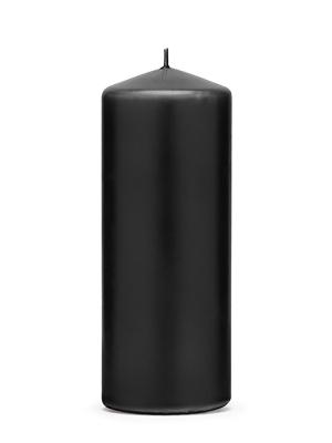 Cilindra svece, matēta, melna, 15 cm х 6 cm