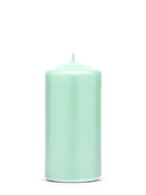 Cilindra svece, matēta, piparmētra, 12 cm х 6 cm