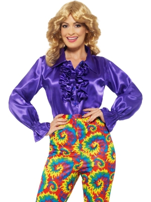 Satin Ruffle Shirt, Purple