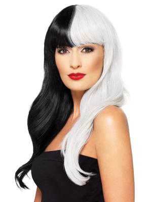 Двухцветный парик, чёрный с серым, высшего качества