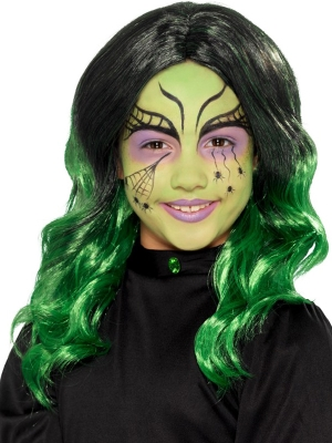 Парик ведьмы, чёрный с зелёным