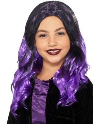 Парик ведьмы, чёрный с фиолетовым
