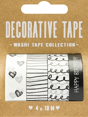 4 pcs, Decorative tape Black&White, 10 m