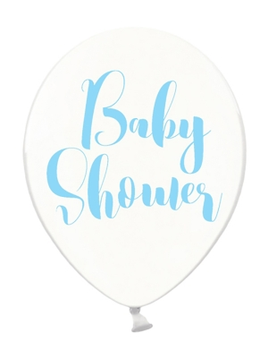 Balons Baby Shower, caurspīdīgi ar zilu, 30 cm