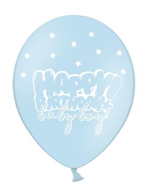 Balons Daudz laimes dzimšanas dienā mazulis, gaiši zils ar baltu, 30 cm