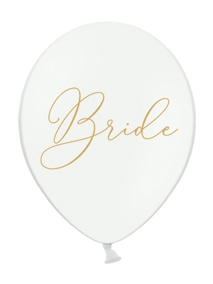 Balons Bride, balts ar zeltu, 30 cm