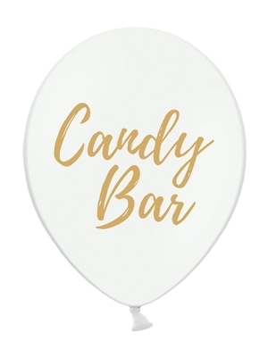 Balons  Candy Bar, balts ar zeltu, 30 cm