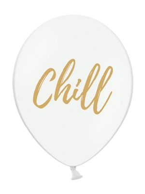 Balons Chill, balts ar zeltu, 30 cm