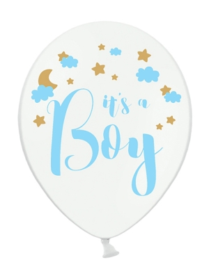 Balons It`s a Boy, balts pastelis ar zilu, 30 cm