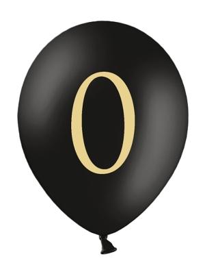 Balons ar skaitli 0, melns, 30 cm