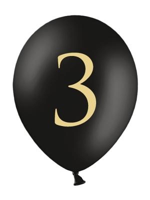 Balons ar skaitli 3, melns, 30 cm
