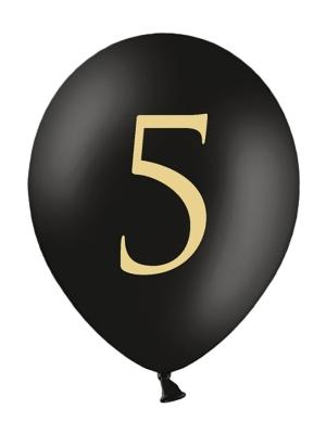 Balons ar skaitli 5, melns, 30 cm