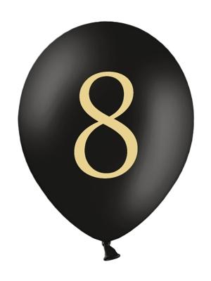Balons ar skaitli 8, melns, 30 cm