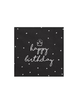 20 gab, Salvetes Daudz laimes dzimšanas dienā, melnas, 33 x 33 cm