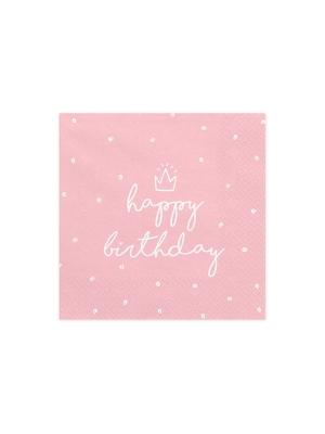 20 gab, Salvetes Daudz laimes dzimšanas dienā, gaiši rozā, 33 x 33 cm