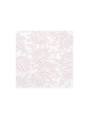 20 gab, Salvetes Peonijas, baltas , 33 x 33 cm