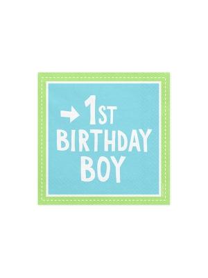 20 gab, Salvetes 1st Birthday Boy, zilas ar zaļo, 33 x 33 cm