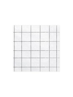 20 gab, Salvetes režģis, baltas, 33 x 33 cm