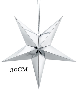 Papīra zvaigzne, sudraba, 30 cm