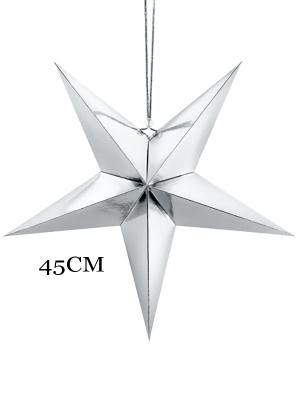 Papīra zvaigzne, sudraba, 45 cm