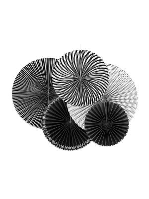 5 gab, Dekoratīvās rozetes, melns ar baltu, 40, 32, 25 cm