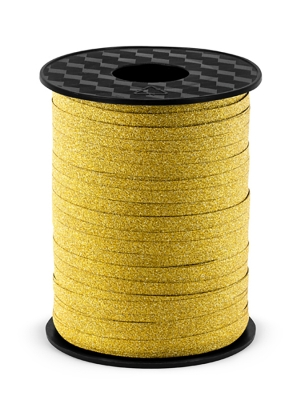 Plastic ribbon, gold, 5mm/225m
