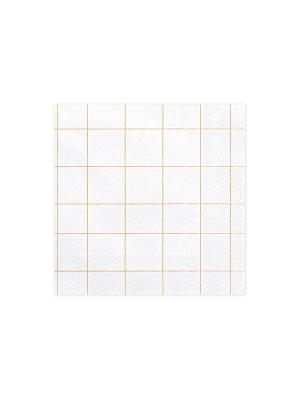 20 gab, Salvetes režģis, baltas ar zeltu, 33 x 33 cm