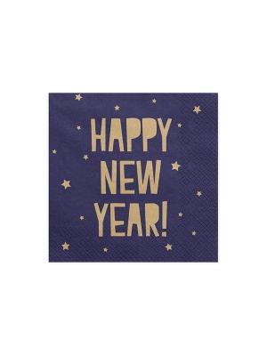 20 gab, Salvetes Laimīgu Jauno gadu, tumši zilas, 33 x 33 cm