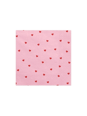 20 pcs, Napkins Hearts, light pink, 33x33cm