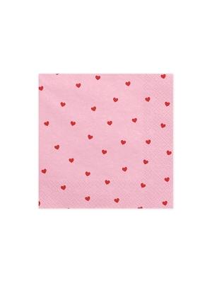 20 pcs, Napkins Hearts, light pink, 33x33cm
