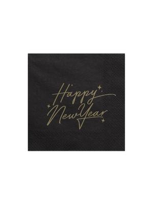 20 gab, Salvetes Laimīgu Jauno gadu, melnas, 33 x 33 cm