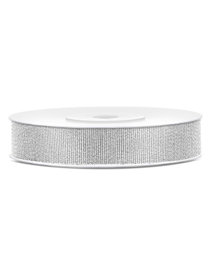 Glitter ribbon, silver, 10 mm x 25 m