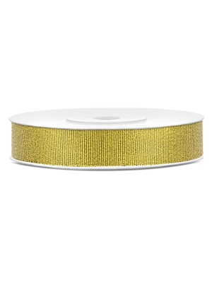 Glitter ribbon, gold, 10 mm x 25 m