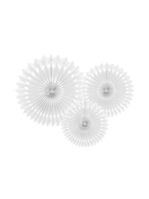 3 gab, Dekoratīvās rozetes, baltas, 20 cm, 25 cm, 30 cm