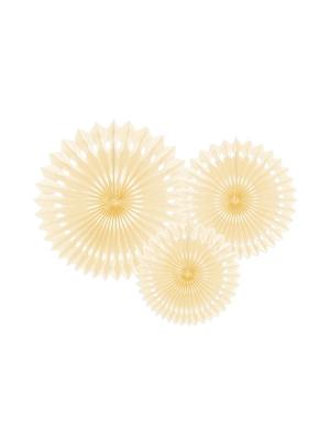 3 gab, Dekoratīvās rozetes, gaiša krēmkrāsa, 20, 25, 30 cm