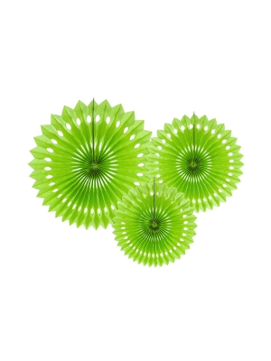 3 gab, Dekoratīvās rozetes, ābolu zaļi, 20, 25, 30 cm