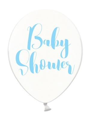 6 gab, Baloni Baby Shower, caurspīdīgi ar zilu, 30 cm