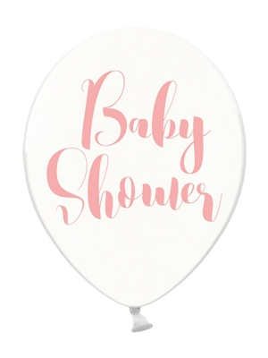 6 gab, Baloni Baby Shower, caurspīdīgi ar rozā, 30 cm