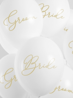 6 gab, Balomi Bride / Groom,  balts ar zeltu, 30 cm